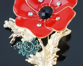 Large Red Poppy Brooch in Gold Tone, Pin