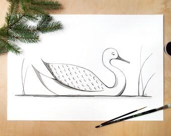 Ink duck art print