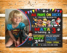 Paw Patrol Invitation, Paw Patrol Birthday Invitation, Paw Patrol Birthday, Paw Patrol, Chalkboard Invitation