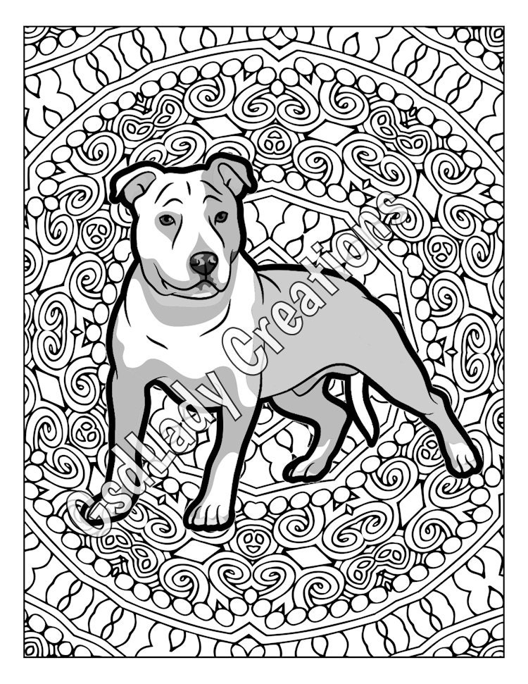 Pit Bull Dog Art Greyscale Coloring Page American