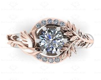 Parisian' 1.25ct Certified Natural White Diamond Dove White/Rose Gold Engagement Ring