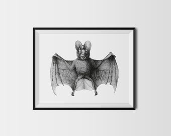 Stippled Bat A4 Gothic Dot Work Black and White Art Print