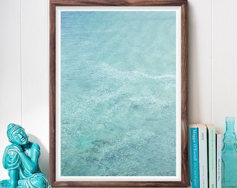 Turquoise Ocean Print, Abstract Wall Art, California Coast, Beach Photography, Minimalist Art, Printable Art, Digital Download