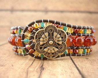 Autumn Splendor Leather Wrap Bracelet