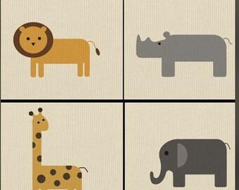 Safari Nursery Print set of 4