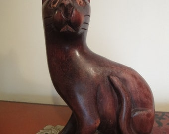 Large wooden sculpture of a CAT     height = 24cm