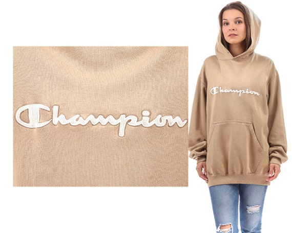 CHAMPION HOODIE 90s Beige Cream White Champion Logo