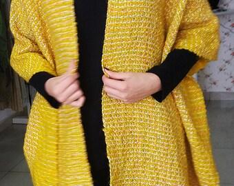 Large handwoven shawl, Fall winter women accessories,yellow handwoven shawl