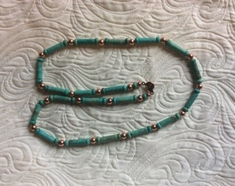 Handmade turquoise and copper necklace
