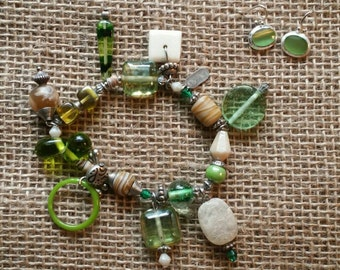 Green Beaded Bracelet with Matching Earrings