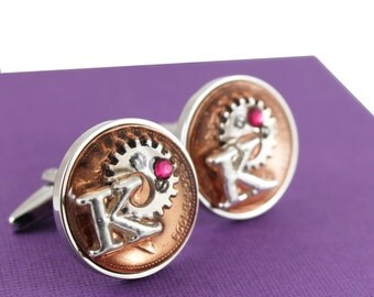 Personalised Year 1997 UK Penny Coin Steampunk Style Cufflinks with Swarovski Birthstone and Initial charm  - 21st Birthday Gift
