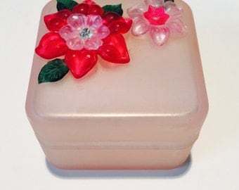 Vintage 1980's Jewelry Box with Embellished Flowers