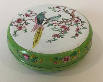 Round Chinese Canton Trinket Box With Lid