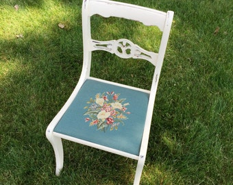 Vintage Chair with Embroidered Seat