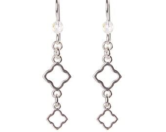 Sterling Silver Double Clover Earrings