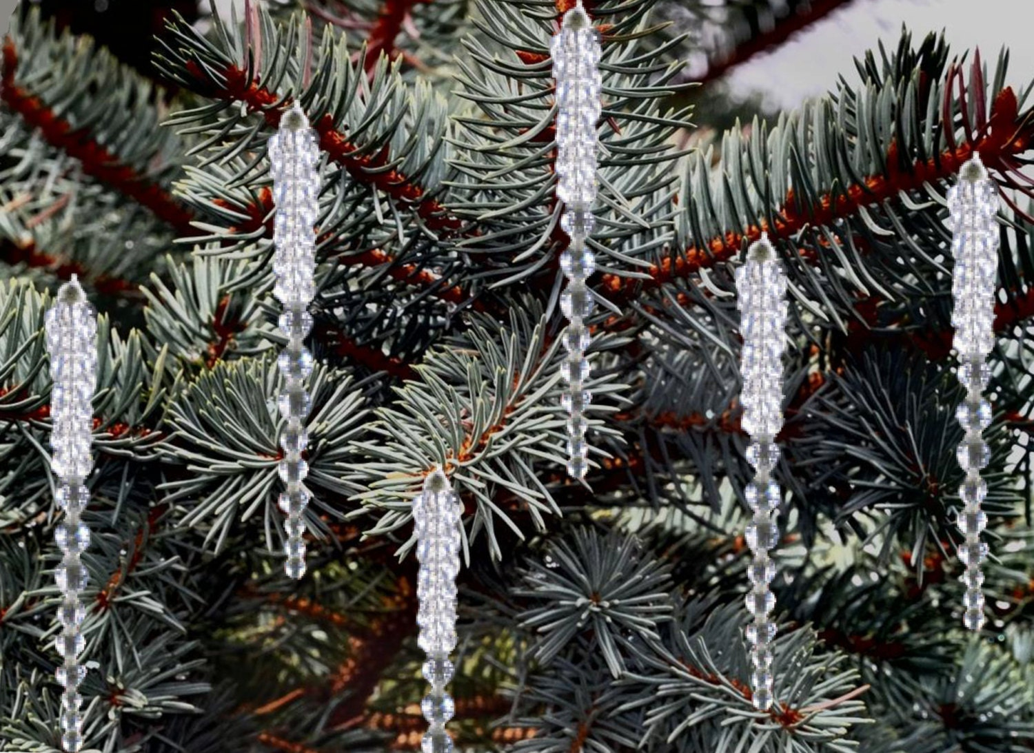 Beaded crystal icicles for your christmas tree set of