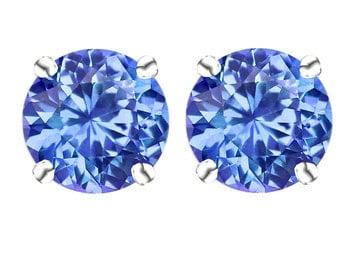 14k White Gold Round Tanzanite Cibic Zirconia Stud Earrings-6mm each