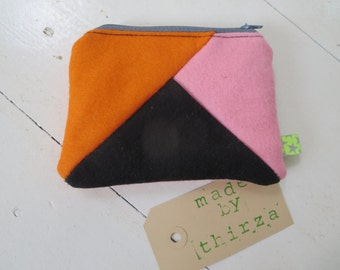 100% hand made pouch of wool felt, oramje, pink, black