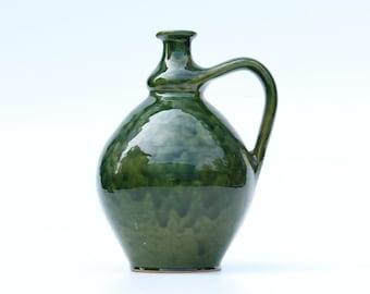 Retro green jug from Hungary of ceramics-vase-beautiful luster glaze