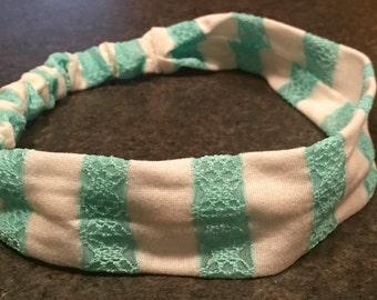 Teal & White Striped Stretchy Headband
