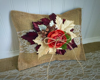 Fall/winter ring bearer pillow, rustic wedding, lace and burlap, blush snd neutral tones