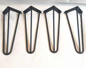 Hairpin Legs Set of 4, Retro,Table,Desk,Bench legs, 41cm, unfinished steel