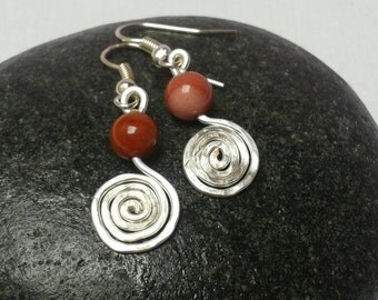 Silver and Mookaite earrings