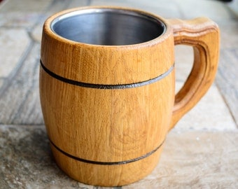 SALE! Small wooden mug with metal inside, wooden mug, wooden mugs, wooden beer mug, beer mug, stein tankard cup craftedbeer wooden tankard