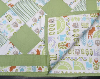 Green Fox and Owl Quilt