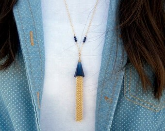 Swarovski Necklace, Crystal Necklace, Tassel Necklace,  Blue Necklace, Blue Pendant