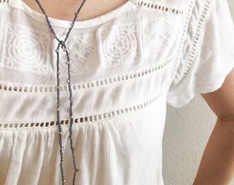 Womens Choker- lariat necklace, y necklace,  crochet choker, boho necklace, wrap necklace, long necklace, beaded choker, choker