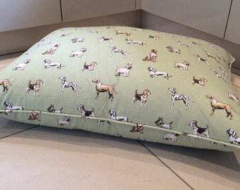Luxury Feather Dog Pillow Bed in Sage Dog Print