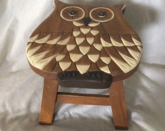 Hand Carved Solid Wood OWL Stool