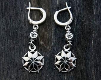 Alatyr - slavic silver earrings