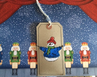 Embroidered Snowman  gift label