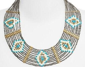 BP Geometric Beaded Collar Necklace