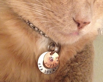"1"" hand stamped copper pet cat or dog tag"