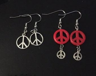 Earrings - Peace Signs