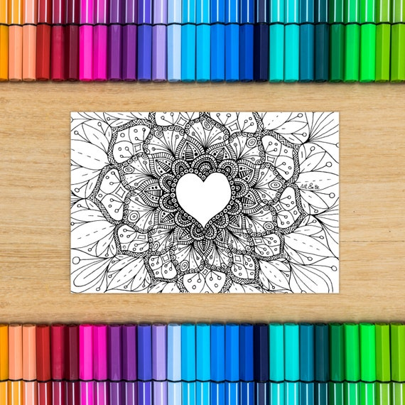 Postcard coloring - heart...