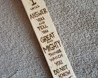 """Scripture Bookmark, Jeremiah 33.3, Bookmark, Wooden Bookmark, Wood Burning, Over 7.5"""" long, Unique Bookmark, Pyrography, Gift."""