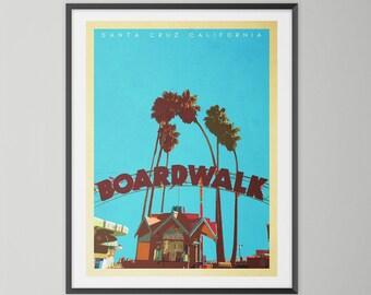 Santa Cruz Boardwalk. Mid Century Style, Retro, California Travel Poster