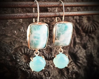 Larimar, Blue Chalcedony & Sterling Silver Earrings