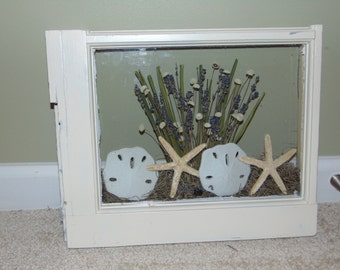 Antique window repurposed with Beach View