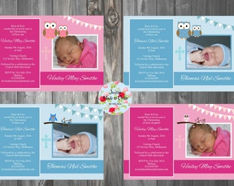 Owl Invitation Baptism Christening Blue Pink with Bunting Flags
