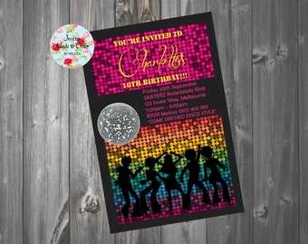 Disco party theme roller skates disco invitation with disco ball