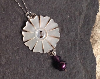 Pendant Made from Antique Mother of Pearl Button and Purple Cultured Pearl on Sterling Silver Chain