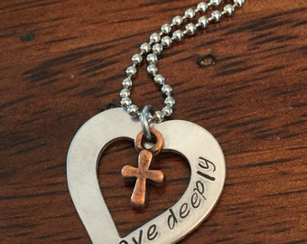 """hand stamped cross necklace, """"love deeply"""" necklace, heart necklace, Christian jewelry"""
