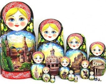 """Matryoshka """"Moscow"""" 15 seats"""