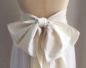 Vintage finish silk dupion wide bridal sash