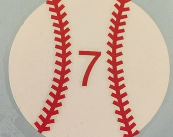 Baseball with number